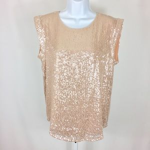 J. Crew Sequin Shirt Size 6 Peach Champagne Dressy